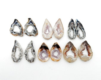 Agate Geode Slice Pairs - Druzy Agate Slice - High Quality Agate Slice PAIRS wire wrapping (RK51B3)