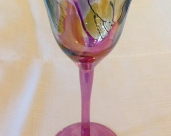 Large Colorful Abstract Art Wine Goblet
