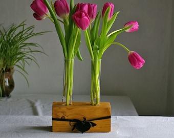 Flower vase, vase with test tubes and wooden base,