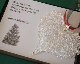 Leaf Ornament Silver, Real Cottonwood Leaf, Cottonwood Leaf Extra Large, Ornament Gift, Christmas Card, ORNA83