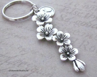 Cherry Blossom Branch Charm Keychain, Personalized Antique Silver Initial Round Flower Branch Key Ring, Choose your Initial Style