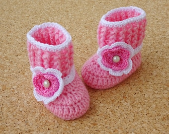 Crochet Baby booties, Baby shoes, Custom baby shoes, fashion baby shoes, baby accessories - Flower aplique