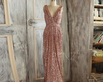 Bridesmaid Dress Rose Gold Sequin Dress,Wedding Dress,Metallic Sparkle Evening Dress,Luxury V Neck Party Dress,Ruched Maxi Dress(TQ150C)