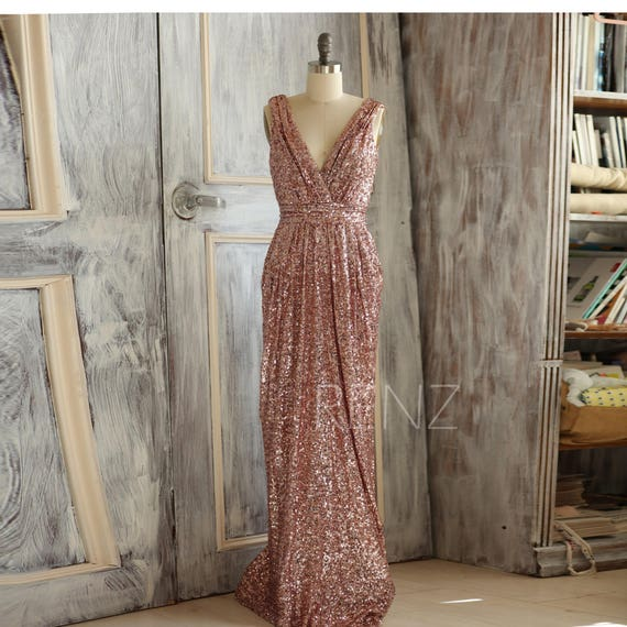 Rose gold bridesmaid dress sequin long gold wedding dress for Add sparkle to wedding dress