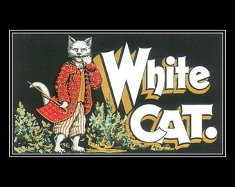 """White cat dressed in a costume.  kittens, feline.  Vintage crate label repro, white cat crate label, 8 x 10"""" Ultra Premium poster Paper"""