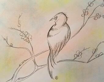 Ink Bird on a Branch