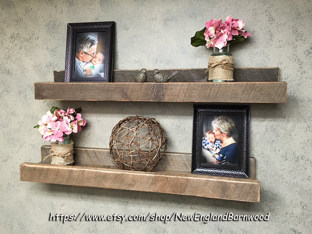 gallery wall shelf picture ledge shelf rustic home decor. Black Bedroom Furniture Sets. Home Design Ideas