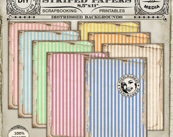 STRIPED PAPERS Digital Scrapbooking Papers Printable Large File 8,5 x 11 Cardmaking Stripes Striped BACKGROUNDS Worn Papers  c22Us