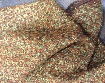Green and copper Brown wool Tweed