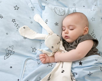 White bunny-organic Security blanket- lovey blanket, lovie blanket, organic,stars print, origami, baby gift, baby shower, baby accessories