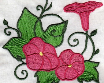 MORNING GLORY QUILT squares, maching embroidered