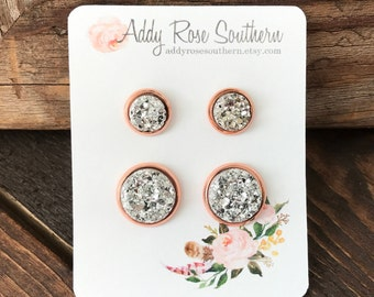 12mm rose gold druzy mommy and me stud set, druzy studs, druzy earrings, rose gold druzy, matching druzy earrings