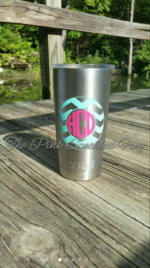 Chevron monogram decal yeti cup decals iphone decals ipad