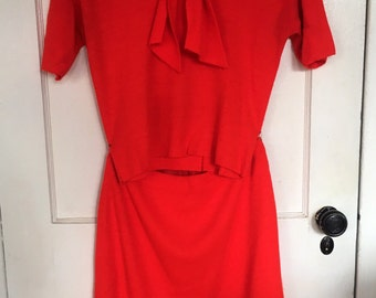 Vintage Two Piece Skirt and Dog Ear collar Top Red Sz M