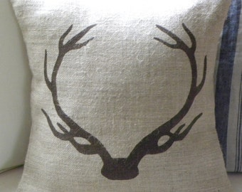 Burlap (hessian) deer stag antlers pillow cover