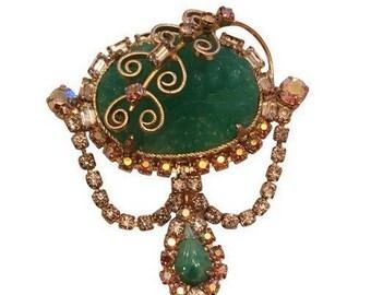 Vintage Hobe Green & Gold Rhinestone Brooch Pin