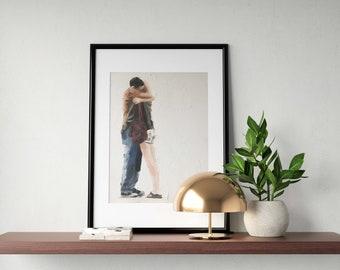 Aime baiser peinture Couple amour reproduction - Art Print - d'après une peinture originale par J Coates
