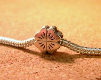 Large hole-silver bead Tibetan - Pearl 11mm - C74 European-clover
