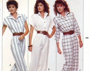 Butterick 6087 Easy Jumpsuit Coveralls Family Circle Collection Size 12 14 16 Uncut Vintage Sewing Pattern 1988 1980s