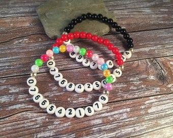 MOBILE NUMBER Bracelet - Medical Alert Bracelet - Cell Phone Bracelet - Medical Bracelet - Medical ID Bracelet - Acrylic Bead Bracelet