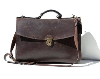 Vintage Dark Brown Leather Briefcase Messenger Bag