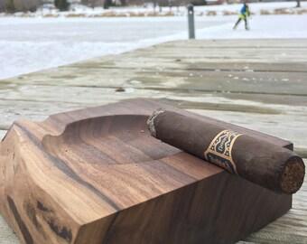 Handmade Wood Cigar Ashtray, Walnut