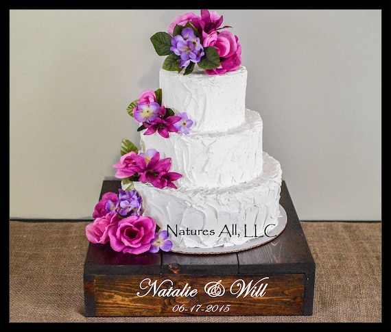 """16"""" Rustic Wedding Cake Stand/Personalized Option/Dark Walnut/Cupcake Stand/Country Wedding Decor/Rustic Cake Stand"""