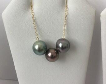 GERALDINE NECKLACE | 3 Tahitian Pearl Necklace, AA+ Tahitian Pearls, 3 Floating Tahitian Pearls, Jewels of Maui
