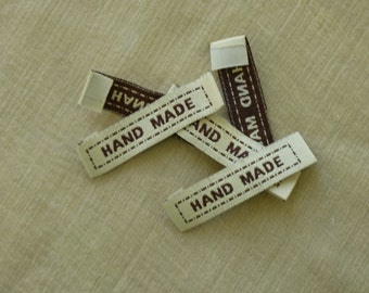 Handmade labels.  Sewing labels, labels, tags, fabric labels, 4.5cm x 1cm.  Set of 20