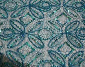 "Mesh Lace Sequin Embroidered Fabric 52"" Wide / Sold By the"