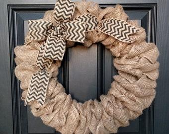Burlap Wreath with Black Chevron Burlap Bow- Front Door Wreath- Monogram Wreath-Decoration-Gift