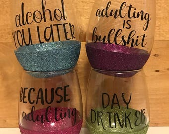 Set of 4 Adulting Phrase Glitter Wine Glasses