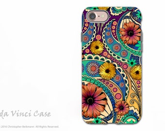 Colorful Paisley iPhone 7 / 8 Tough Case - Dual Layer Protection - Petals and Paisley - Boho Daisy Paisley Case for Apple iPhone 8