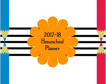 2017-18 HOMESCHOOL PLANNER cute and simple printable instant download