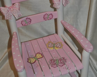 Handpainted Rocking Chair-Kids Rocking Chairs-Rocking Chair-Rocker-Nursery Furniture-Baby Shower-Toddler Gift-Whimsical Pink Butterfly & Handpainted Rocking Chair-Kids Rocking Chairs-Rocking