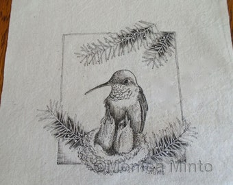 Pen & Ink on Fabric Original Drawing Quilt Square by Monica Minto hummingbird with nestlings