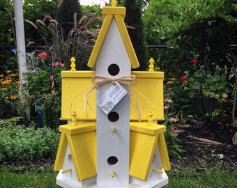 Beautiful XTRA Large Handcrafted Wooden Bird House Condo Outdoor Birdhouse