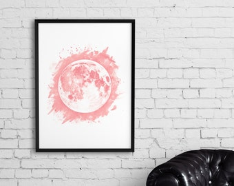 Moon Art, Blush pink moon print, Watercolor moon art poster, Printable moon wall art, Home decor printable, Astronomy art