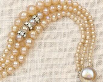 Vintage Bracelet Pearl Rhinestone Triple Strand Pearlized Costume Jewelry 7J