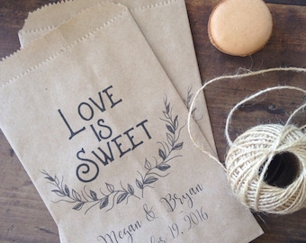 Personalized Wedding Candy Buffet Bags, Natural Kraft recycled favor bags, Packs of 25