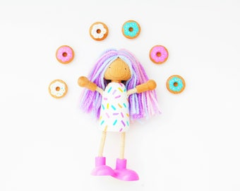 Party Sprinkles Doughnut Shop Bendy Doll With A Dozen Wooden Doughnuts - Party Peg Doll - Birthday Cake Doll - Doughnut Bendy Peg Doll
