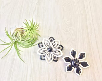 Set of Two Vintage Flower Brooches | Mod 1060's Flower Pins | 60's Fashion | Mod Style | Black and White Flower Power Pin | Metal Flower Pin