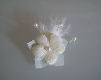 Accessory ivory bridal/wedding/evening/Cocktail dress ceremony/flower child girl woman clip/Barrette/bun/Pic/jewelry/pin/hair