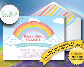 Rainbow Baby Shower Invitation - Rainbow Baby, Gender Neutral Baby Shower, Self Editable Invitation