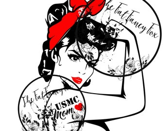 USMC Mom Rosie Riveter SVG Digital Download