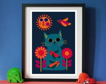 Daisy Bird Cat A3 print by Jay Kaye