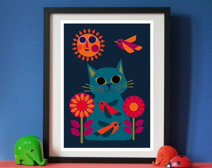Daisy Bird Cat A3 print by Jay Kaye