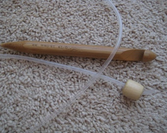 47 inch Bamboo Tunisian Afghan crochet hook with extension tail tube cord SIZE US Q 15mm  (we also make size P, S, U)