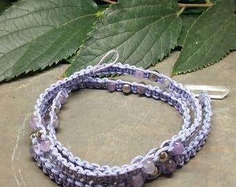 Chevron Amethyst and Clear Quartz toggle Macramé Hemp Cord Crystal & Stainless Steel Bead Wrap Bracelet/Anklet/Necklace