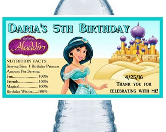 20 ~ PRINCESS JASMINE BIRTHDAY Party Favors Water Bottle Labels ~ Free Shipping